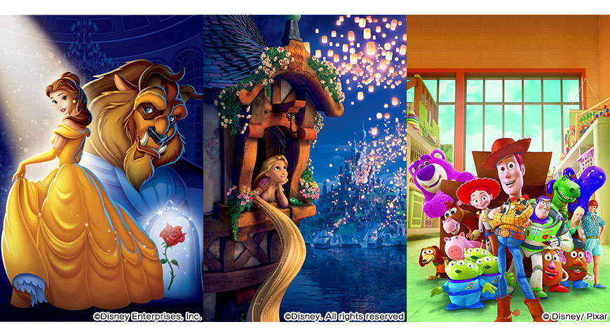 美女と野獣、塔の上のラプンツェル、トイ・ストーリー3のポスター